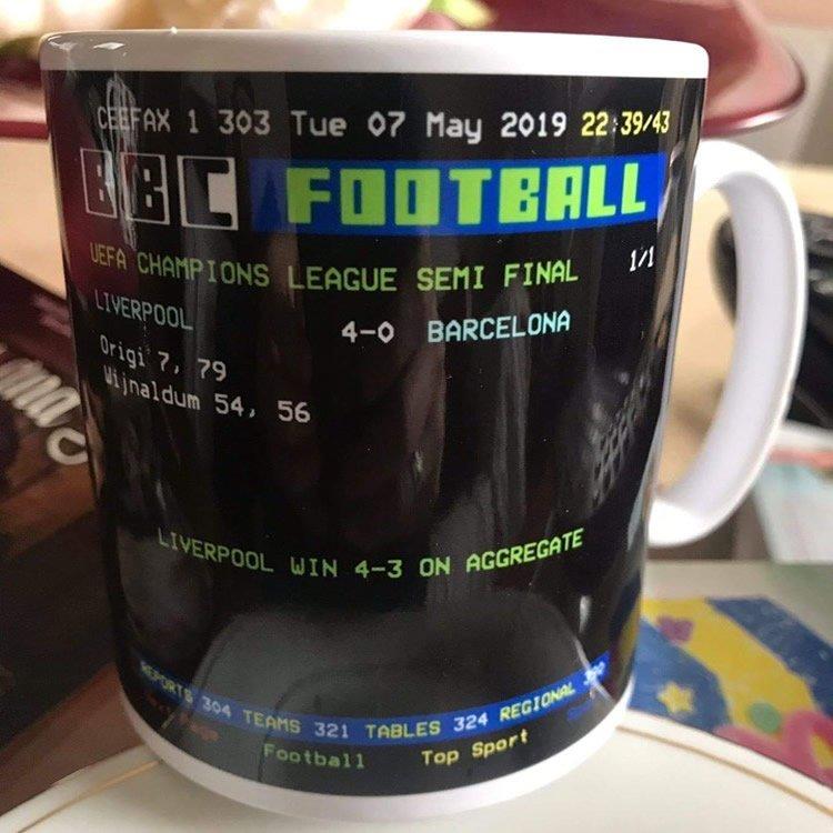 "Liverpool V Barcelona ""Ceefax"" Teletext Style Retro"