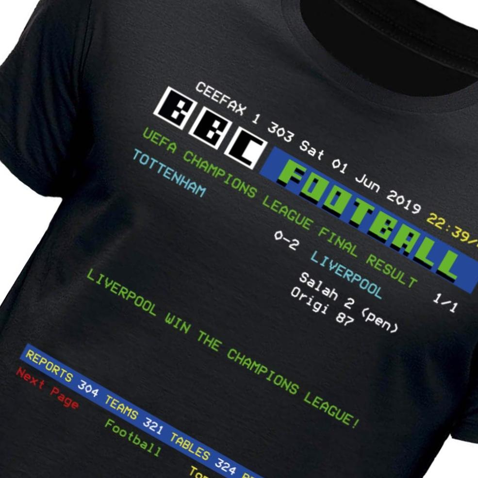 Liverpool Champions League Final Retro Ceefax Football Result T-Shirt